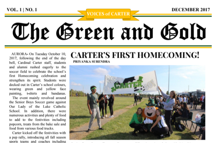 Our 1st Green and Gold Newspaper!