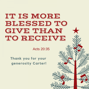 Carter helps 40 Families at Christmas!