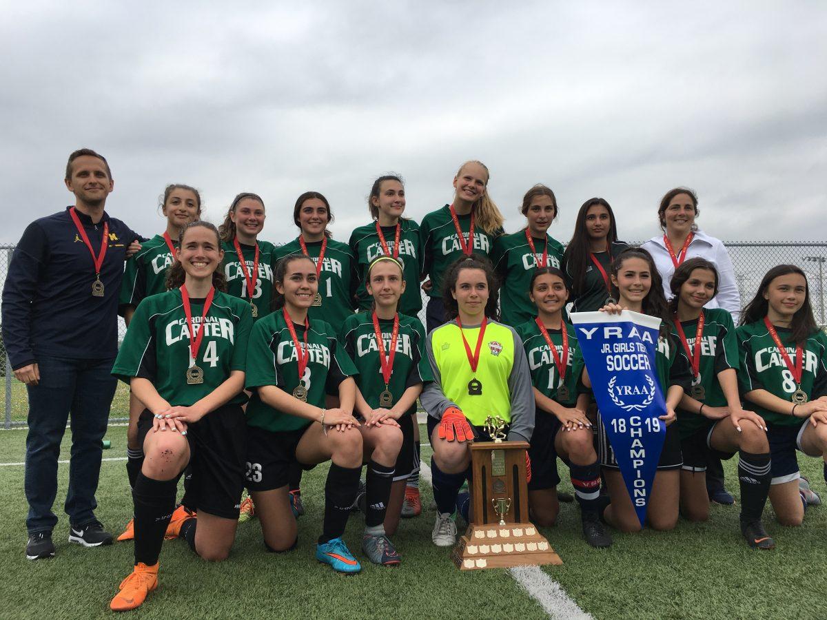 Cardinal Carter Celtics' Jr. Girls Soccer team are YRAA Tier 1 Champions!